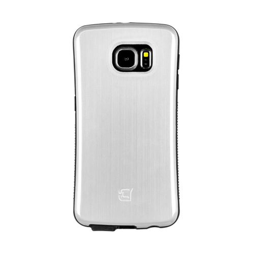 Dual Layer Hybrid Military Graded Shock Express Case with Raised Lip - Samsung Galaxy S6 - Metallic White