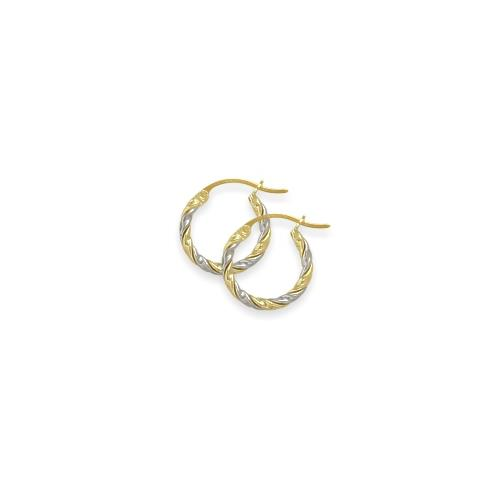 Two-Toned 3/5 Inch Gold Hoop Earrings