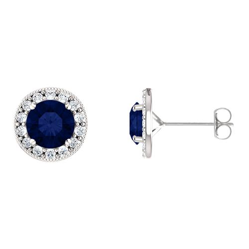 Sterling Silver 2.00 tcw. 6mm Created Sapphire & Created White Sapphire Halo Stud Earrings