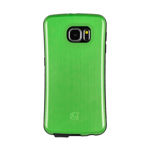 Dual Layer Hybrid Military Graded Shock Express Case with Raised Lip - Samsung Galaxy S6 - Metallic Green
