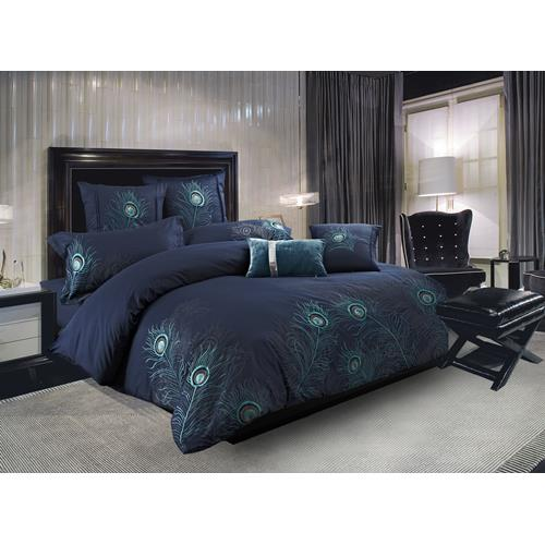 Peacock Feathers 7-Piece Duvet Cover Set