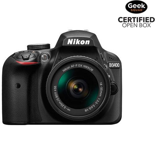 Appareil photo reflex numérique D3400 de Nikon et objectif VR 18-55 mm - Boîte ouverte