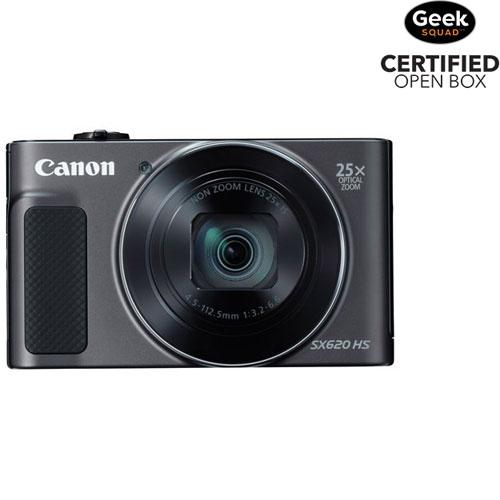 Appareil photo PowerShot SX620 HS 20,2 Mpx Wi-Fi et zoom optique 25x de Canon - Noir - Boîte ouverte