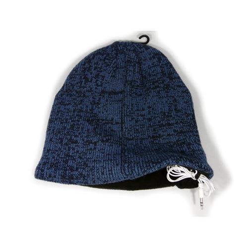 Music Muffs Unisex Audio Fleece Lined Beanie Hat, Blue