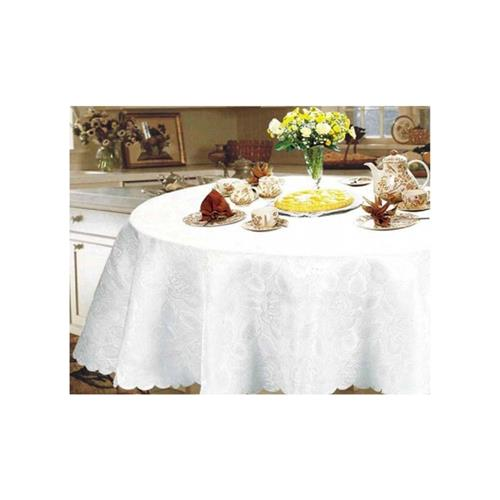 """Nusso Celebrity Damask Tablecloth 72"""" Round - White"""