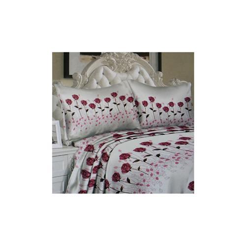 Couture 850 Series Luxury Sheet microfibres Profonde Pocket Set, Red Rose Print , Reine