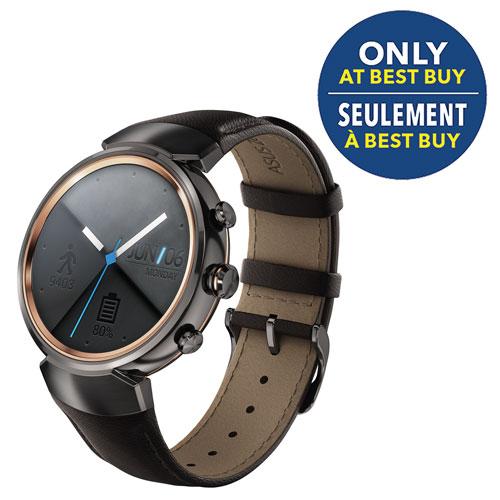 "ASUS ZenWatch 3 1.39"" Smartwatch - Gun Metal/Dark Brown - Only at Best Buy"