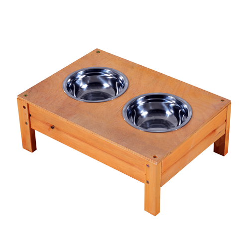 PawHut Elevated Wood Double Dog Bowl Raised Stand Orange