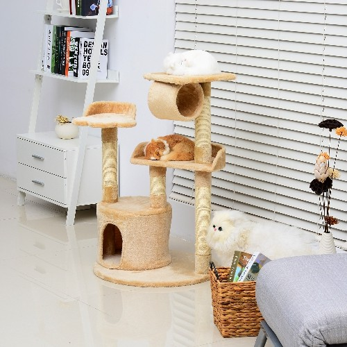 PawHut 38inch Cat Tree Condo Furniture Play Toy Scratch Post Kitten Pet House Beige