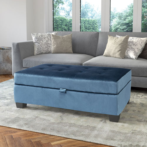Outstanding Antonio Velvet Fabric Storage Ottoman Blue Short Links Chair Design For Home Short Linksinfo