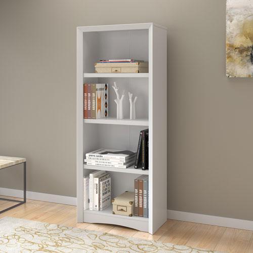 """Quadra 59"""" Contemporary 4-Shelf Bookcase - White Faux Woodgrain"""