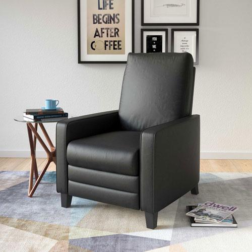fauteuil inclinable contemporain en cuir reconstitu kelsey noir fauteuils inclinables. Black Bedroom Furniture Sets. Home Design Ideas
