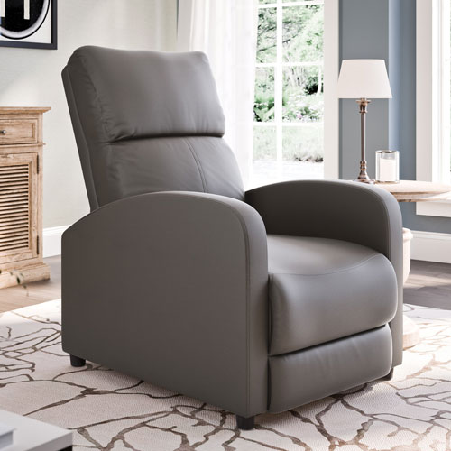 Moor Contemporary Bonded Leather Recliner - Brownish-Grey