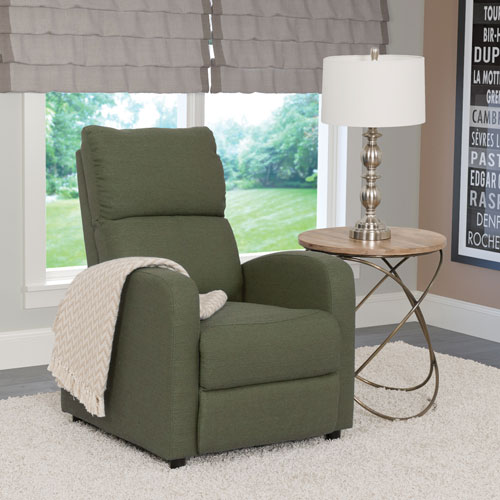 Moor Contemporary Fabric Recliner - Greenish-Grey