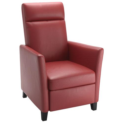 Fauteuil inclinable contemporain en cuir reconstitué Elise - Rouge
