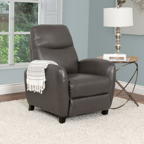 Ava Contemporary Bonded Leather Recliner - Brownish-Grey