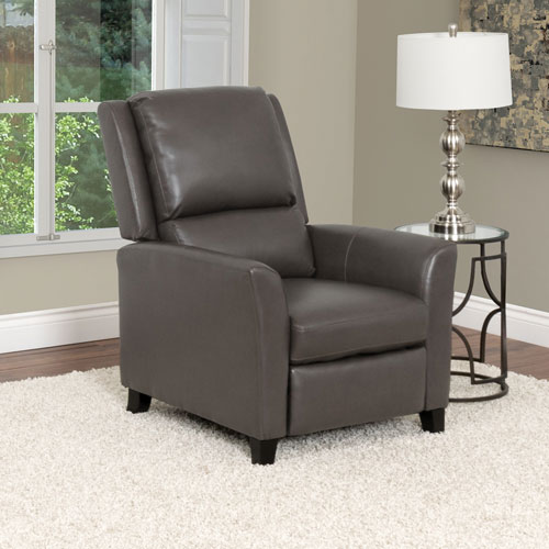 Kate Contemporary Bonded Leather Recliner - Brownish-Grey