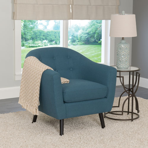 Oliver Contemporary Linen Fabric Barrel Accent Chair - Blue