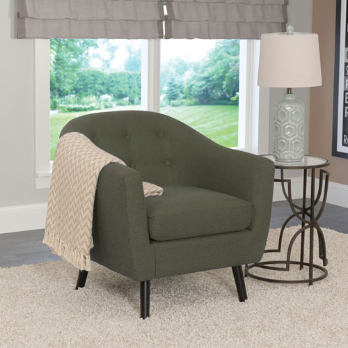 Oliver Contemporary Linen Fabric Barrel Accent Chair - Greenish-Grey