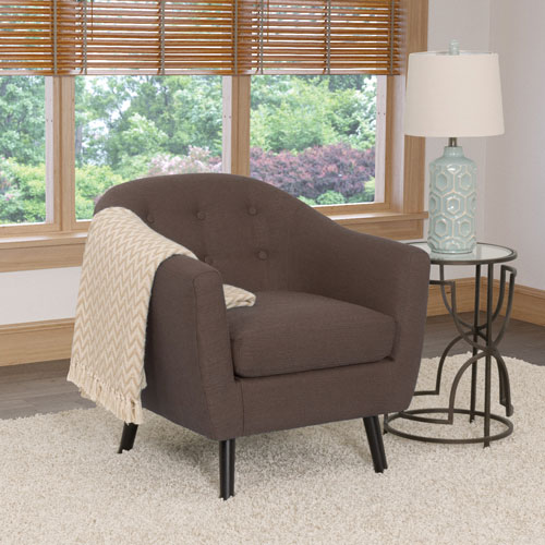 Oliver Contemporary Linen Fabric Barrel Accent Chair - Brown