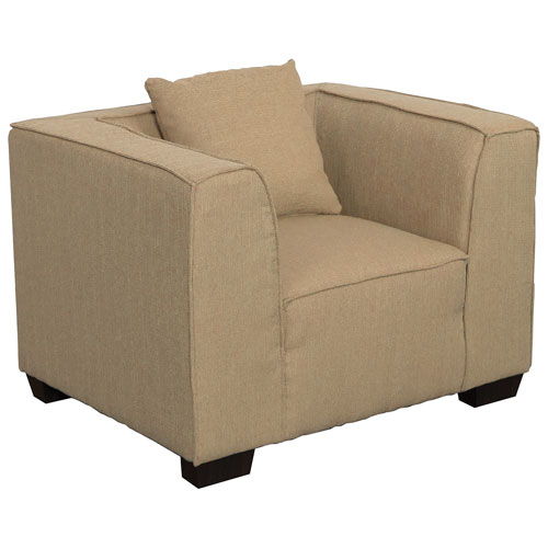 Lida Contemporary Linen Fabric Armchair - Beige