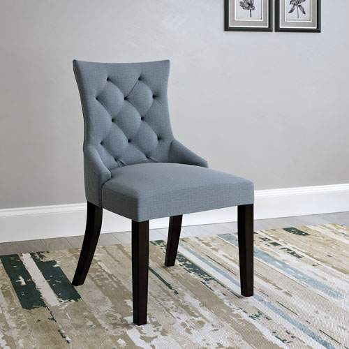Antonio Contemporary Fabric Accent Chair Set Of 2 Blue Grey