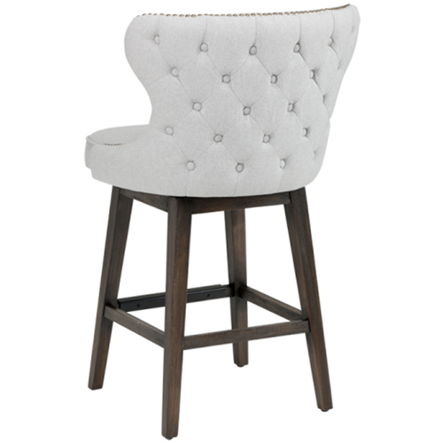 Fabric Barcounter Stool Wbrass Nailhead In Light Grey Counter