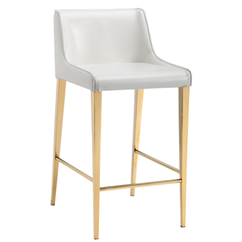 pretty nice 6d6bb 6d6e0 Gold Legs Bar Stool in White Leather