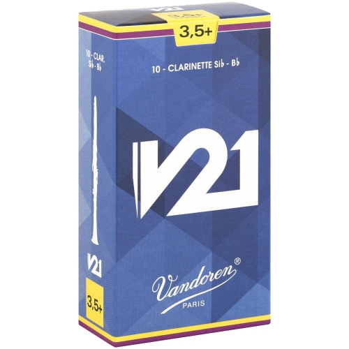 Vandoren V21 Bb Clarinet Reeds - #3.5+, 10 Box