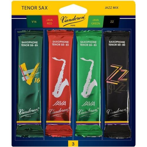 Vandoren Tenor Saxophone Jazz Mix Reed Pack - #3, 4 Pack