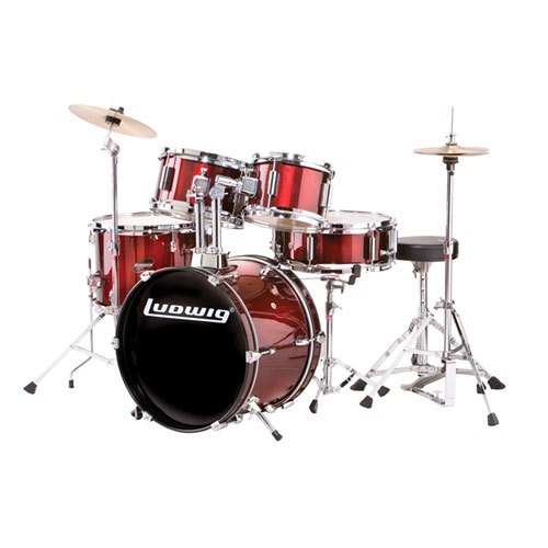Ludwig Junior Drum Kit - Throne, Cymbals, with Hardware - 5-Piece, Red