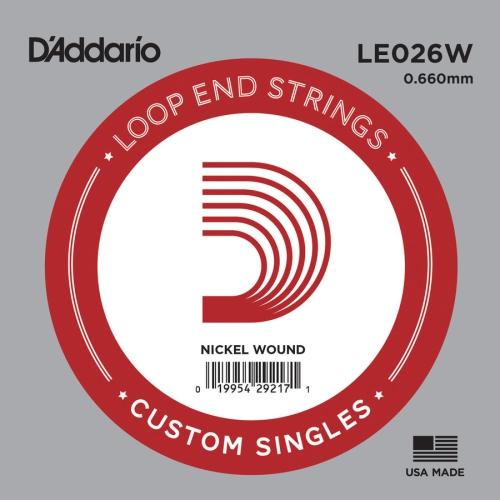 D'Addario LE026W Loop End Single Guitar String - Nickel Wound, 26