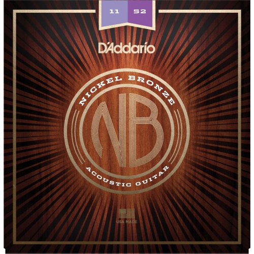 D'Addario NB1152 Nickel Bronze Acoustic Guitar Strings - Custom Light, 11-52