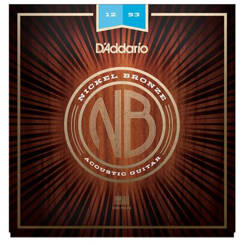 D'Addario NB1253 Nickel Bronze Acoustic Guitar Strings - Light, 12-53