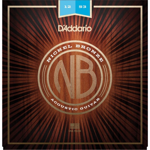 D'Addario NB1253 Nickel Bronze Acoustic Guitar Strings - Light, 12-53