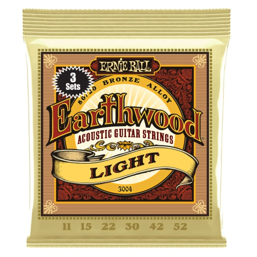 Ernie Ball P03004 Earthwood 80/20 Bronze Acoustic Guitar Strings - Light, 3 Pack
