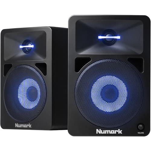 Numark N-Wave 580L Powered DJ Monitors with Pulsating Lights - Pair