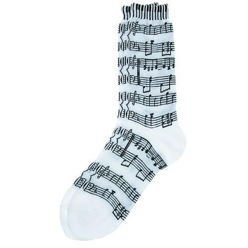 Socks Aim Socks Sh Music/Kybd White W/ Black - Ladies
