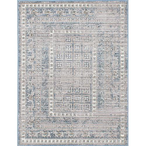 "Paradis FGN1 Grey, Navy Blue Viscose Rug 5'3"" x 7'7"""