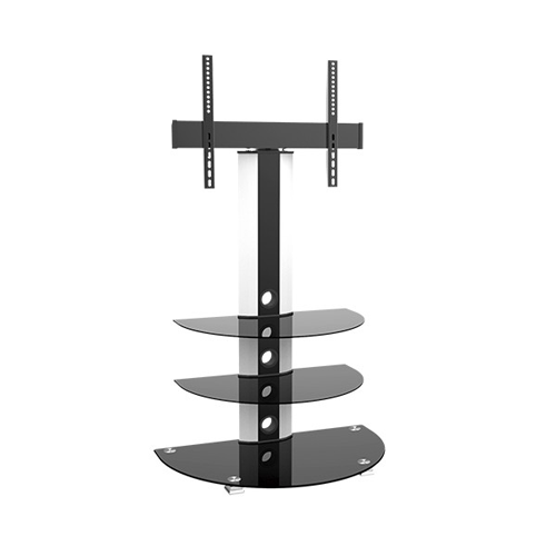 """GlobalTone Swivel TV Stand for LCD LED Plasma Television 32"""" to 55"""" with 3 Tempered Glass Shelves"""