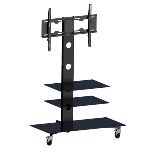"GlobalTone Rolling TV Cart Stand Mobile Trolley for LED LCD Plasma 25"" to 55"" With 3 Shelves"
