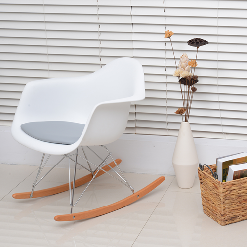 HOMCOM Set of 2 Eames Style Rocking Chair PU Leisure Chairs Seat White