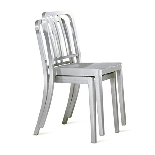 2 Brushed Anodized Aluminum Modern Salem Side Dining Chair Navy Chair Cafe  Chair