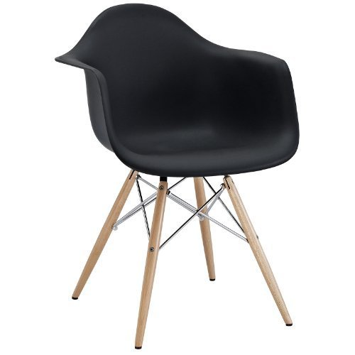 Nicer Furniture 2 Black Eames Style Armchair With Natural Wood Legs Eiffel Dining Room Chair Wooden Dowel Leg Base Chairs