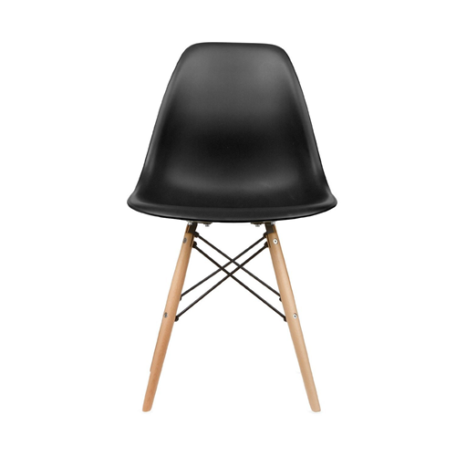 Six (6) Black  Eames Style Side Chair With Natural Wood