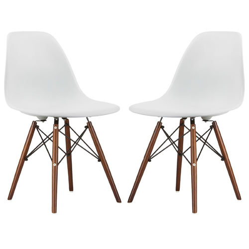 (2) White  Eames Style Side Chair With Walnut Wood Legs
