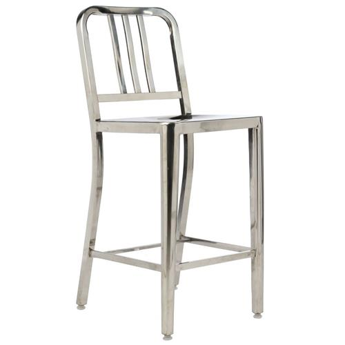 1 Stainless Steel Modern Counter Stool With Polished