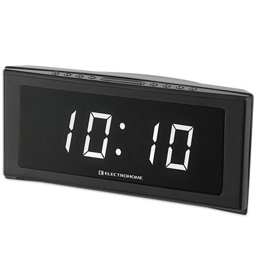 "Electrohome 1.8"" Jumbo LED Alarm Clock Radio with Battery Backup, Auto Time Set, Digital AM/FM Tuner & Dual Alarm"