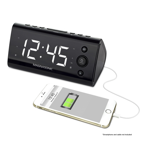 Electrohome USB Charging Alarm Clock Radio for Smartphones & Tablets with Dual Alarm, Battery Backup & Auto Time Set
