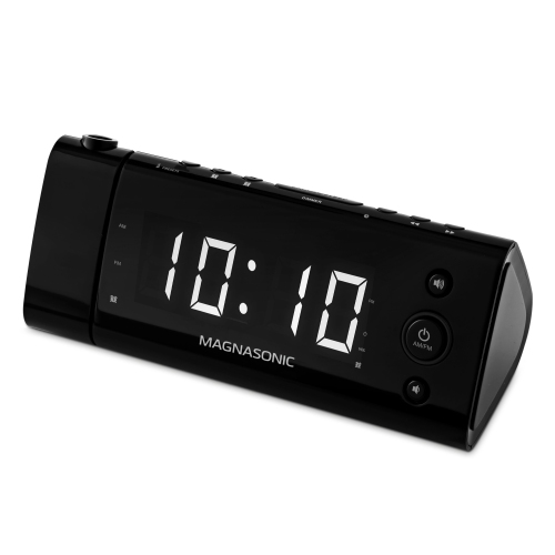 Electrohome USB Charging Alarm Clock Radio for Smartphones with Time Projection, Battery Backup, Auto Time Set